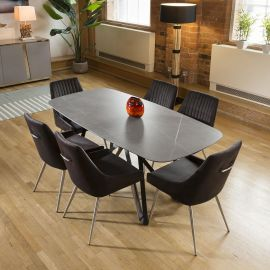 Ceramic Grey Table Dining Set 2 x 1m + 6 Charcoal Velvet Chairs 1966