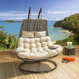 Double Hanging Chair / Sunbed Brown / Beige Outdoor Garden With Cover