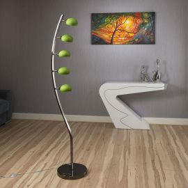 Modern Floor/Standard Lamp/Light / Lighting 5 Green Glass Shades Shell