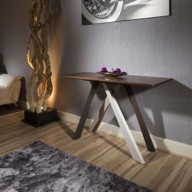 Modern Designer Console Table Walnut and multicoloured legs Ho1450