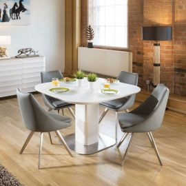 Stunning Dining Set White Glass Square Extending Table +4 Grey Chairs