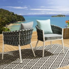 2 x Luxury Garden Thick Rope Dining Chairs Green / Grey White Frame