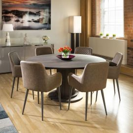 Earth Huge Solid Oak Round Dining Table 1600mm + 6 Brown Carver Chairs