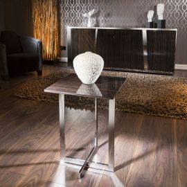 Modern Designer Square End / Side Table Lurex Ebony / Stainless Steel