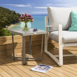 Modern Outdoor Patio Glass topped Side Table Grey Aluminium Frame Freddy