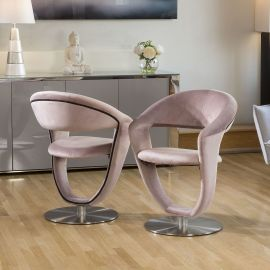 Set of 2 Unique Stylish 360 Rotating Dining Chairs Pink Velvet HD8110