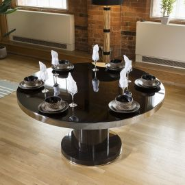 Round 1500mm Dining Table Smoked Oak Base Glass Top & Polished Steel