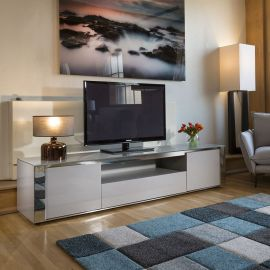 Magnificent Modern Sophie TV Stand Cabinet 2.2mtr Grey Gloss New