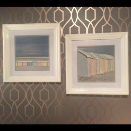 Pair of Stunning Photograph Prints of Colourful Beach huts 405 x 405mm