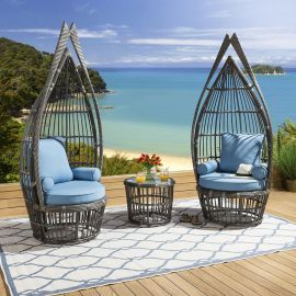 Luxury Outdoor Garden Feature Chair Set 2 Chairs Table Blue