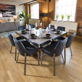 Grey & Chrome Dining Set Glass Top 8 x Blue & Stainless Chairs