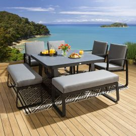 Outdoor Dining Set Square Ceramic Table 2 Benches 4 Chairs Black Grey