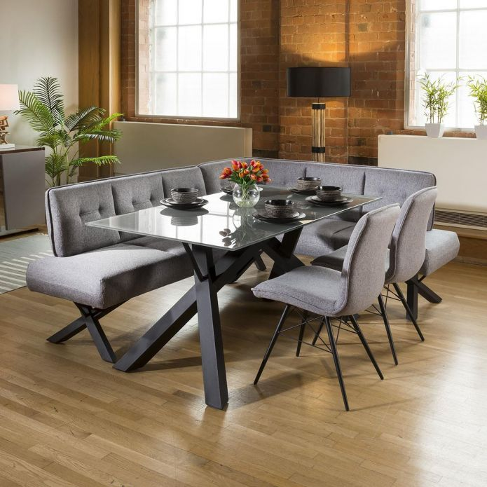 Grey Glass Dining Table Set + Fabric Corner Bench & 2 Chairs