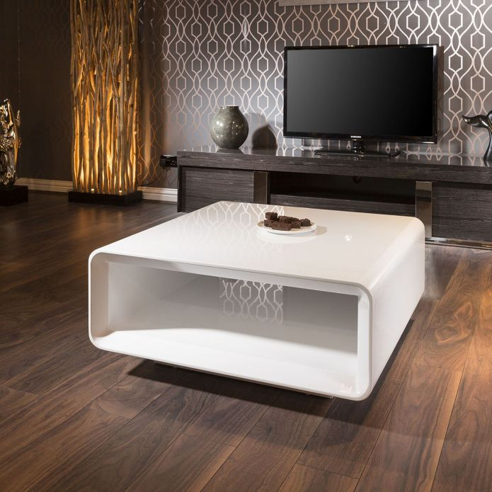 Beautiful Modern Designer 900mm Square Coffee Table White High Gloss
