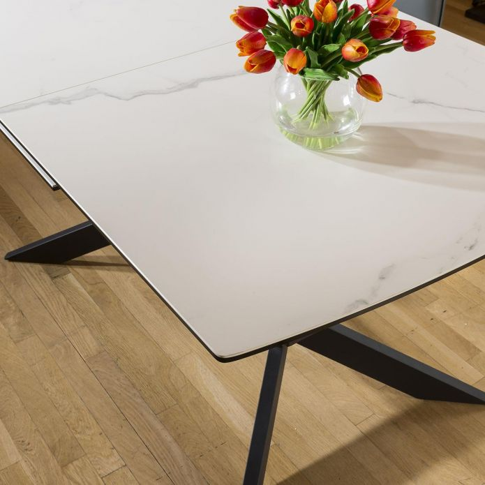 Huge Emperor White Ceramic Dining Table Rectangle Extends 1.5 - 2m