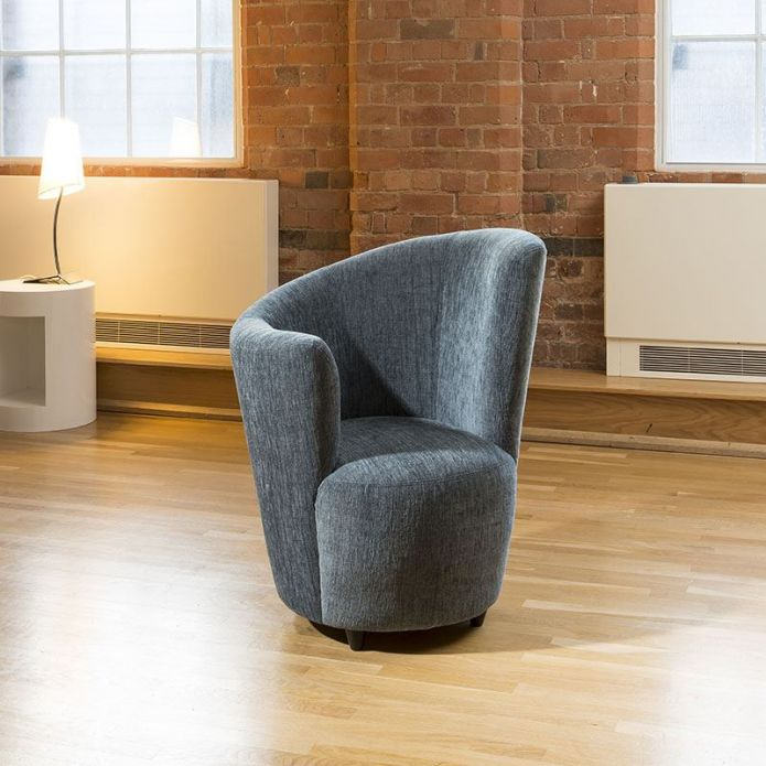 Modern Large Curved Blue Fabric Armchair / Armchairs /Tub Chair/Chairs