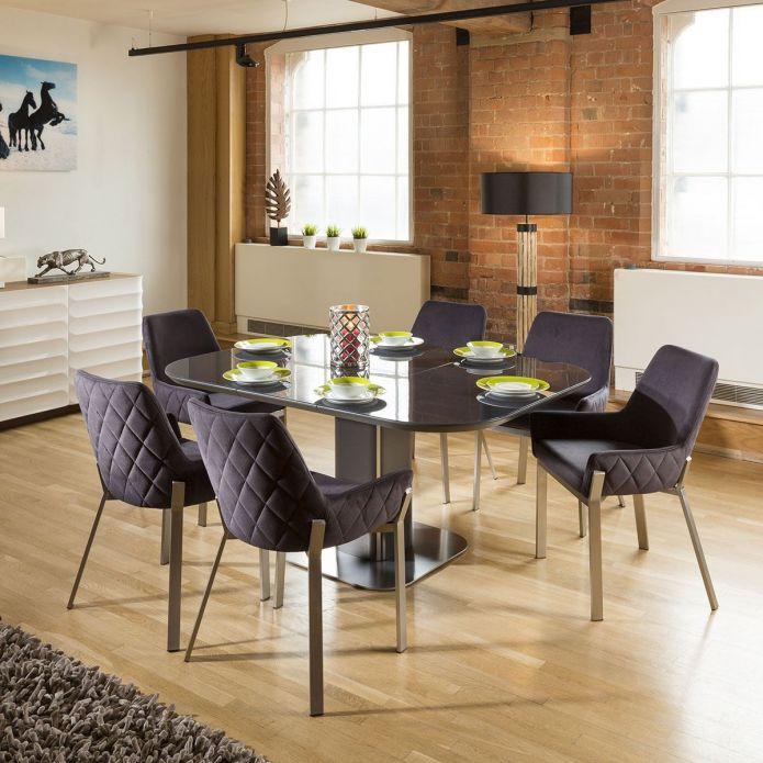 Dining Set Grey Glass Square Extending Table + 6 Dark Grey Chairs 1649