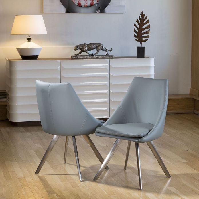 Stunning Dining Set White Glass Square Extending Table +6 Grey Chairs