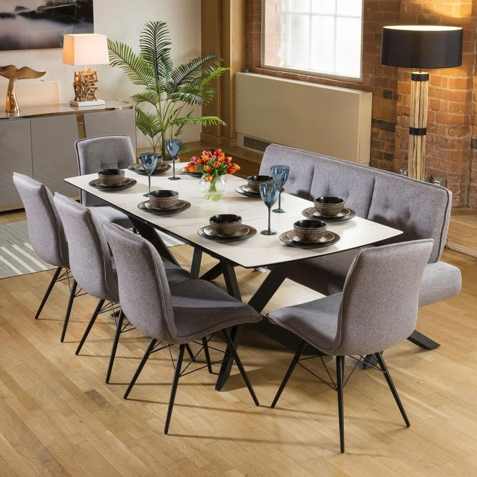 Extending White Ceramic Dining Table + Straight Bench and 5 Chairs