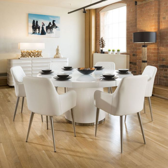 Large Round White Gloss Dining Table Lazy Susan, 6 White Chairs 1619