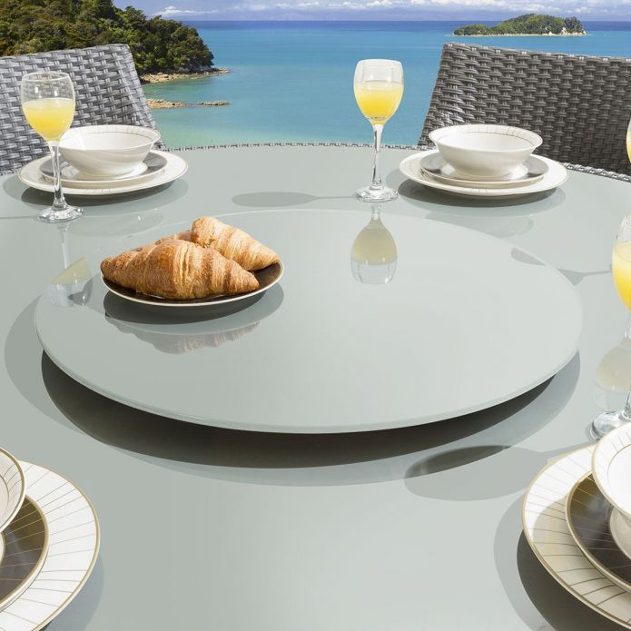 Luxury Outdoor Garden Grey Glass Lazy Susan for Dining Table 600mm