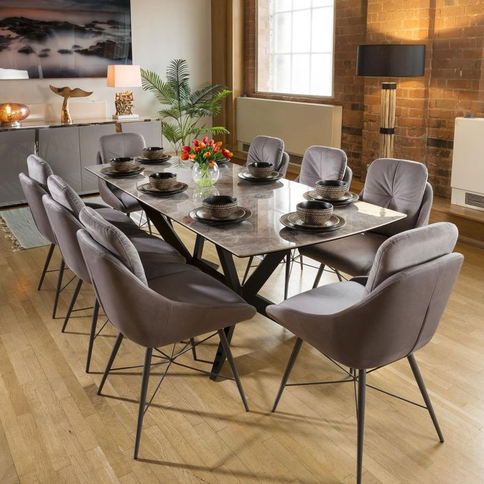 Extending Grey Ceramic Dining Table + 8 Grey Fabric Chairs 1965