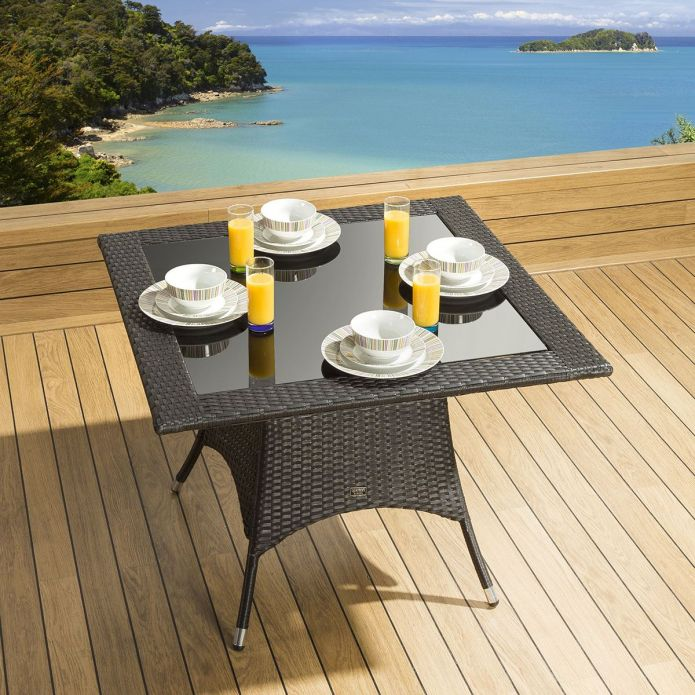 Luxury Garden / Outdoor Square Dining Table in Black 1000mm Glass Top
