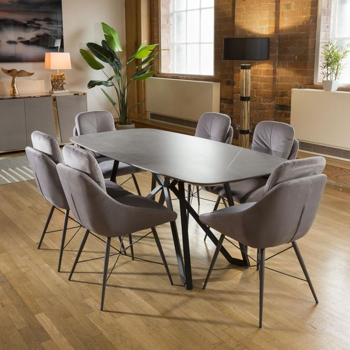 Ceramic Grey Table Dining Set 1.78m + 6 Grey Fabric Chairs 1965