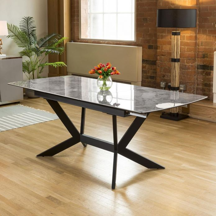 Huge Emperor Grey Ceramic Dining Table Rectangle Extends 1.5 - 2m