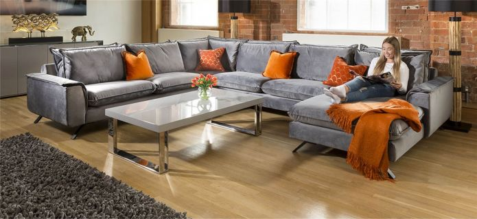 Ellie Extra Large U Shape Modular Cinema Sofa Many Fabrics 3 x 3.86m