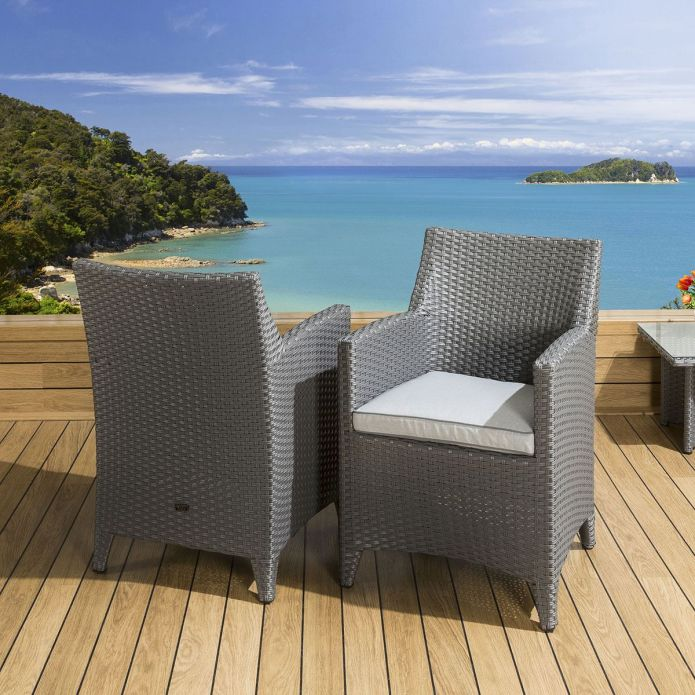 Pair of Luxury Garden Outdoor Dining Chair chairs Grey Rattan / Silver