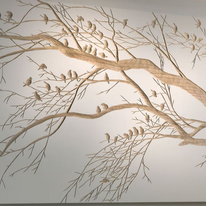 Stunning Hand Crafted Solid Wood Wall Artwork Tree with Birds 1500x750mm