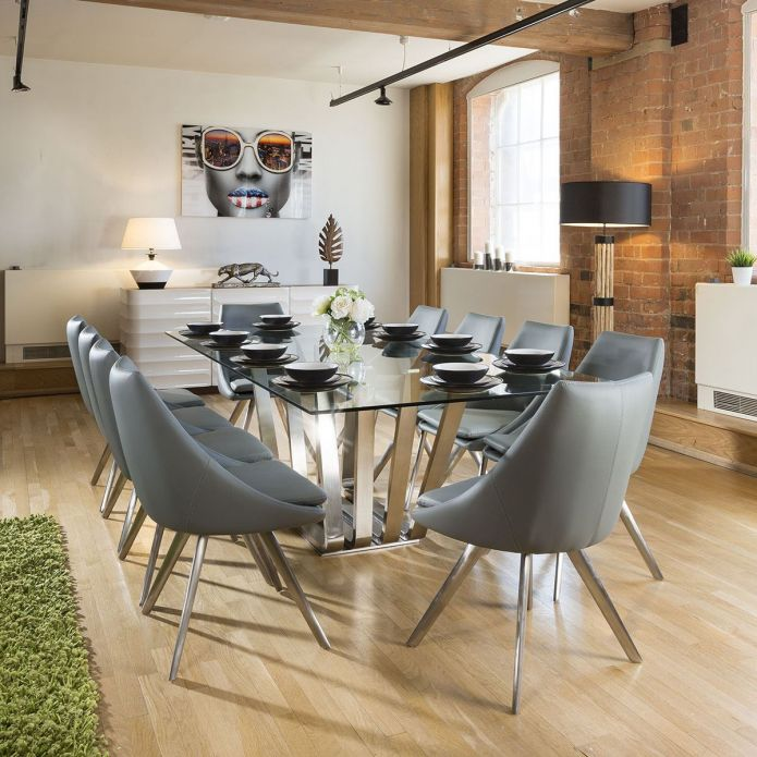 Huge Rectangular Dining 2.4 Set Glass Table 10 Mid Grey Modern Chairs