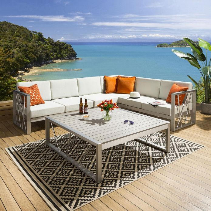 Luxury Large Outdoor Garden Corner Sofa Grey 6 Seater Inc Table & Cover 233GR