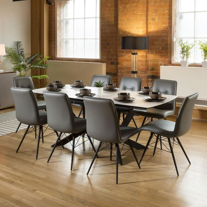Extending White Ceramic Dining Table + 8 PU Leather Chairs 9137