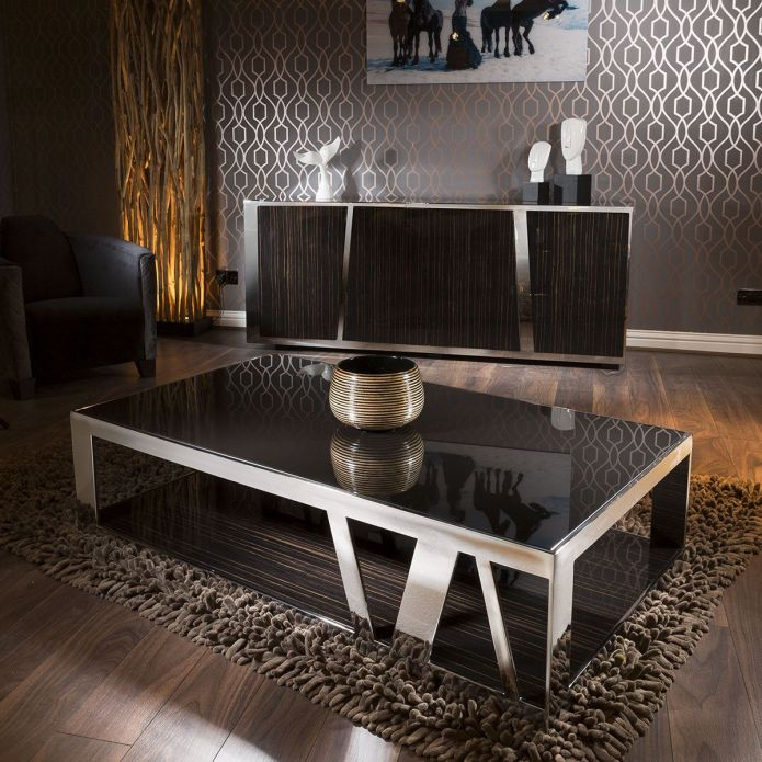 Modern Luxury Large Rectangular Coffee Table Glass Ebony & Stainless V