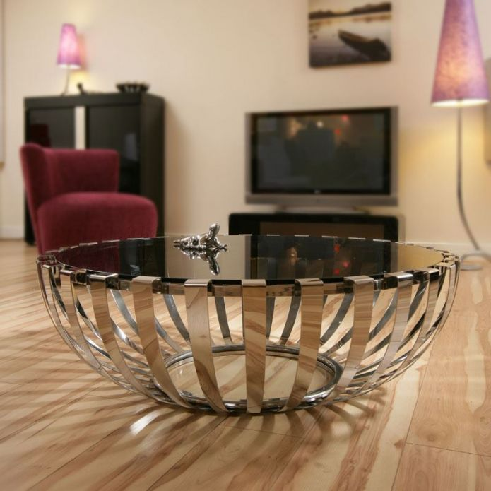 Modern Designer Large Round Coffee Table Glass Top Stainless Steel 184