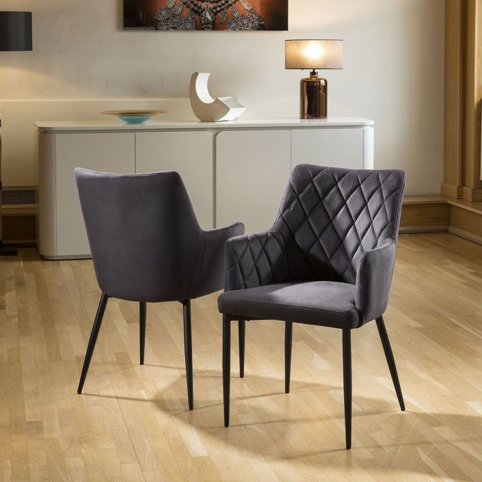 Set of 2 Quatropi Luxury Carver Chairs Charcoal Grey Fabric Quilted