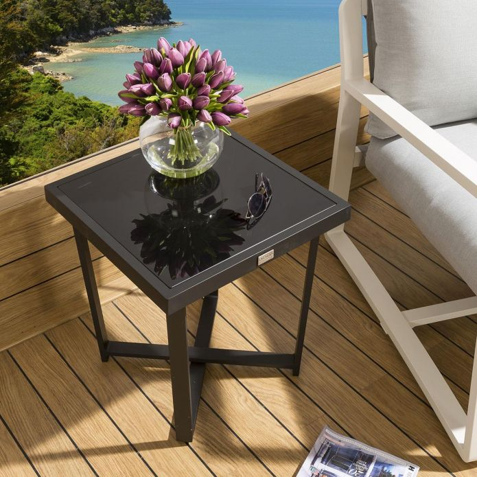 Modern Outdoor Patio Glass topped Side Table Black Aluminium Frame Freddy