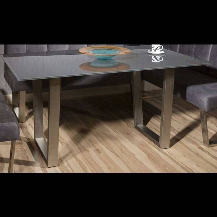 Quatropi Rectangular Dining Table Grey Glass Top And Brushed Stainless Steel