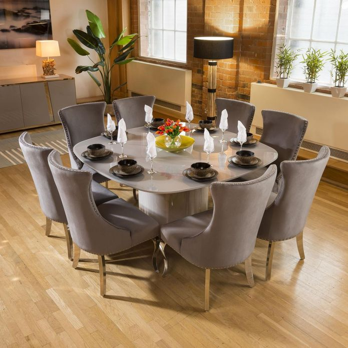 Huge Grey Square Glass Top Dining Set With 8 x Medium Grey Chairs