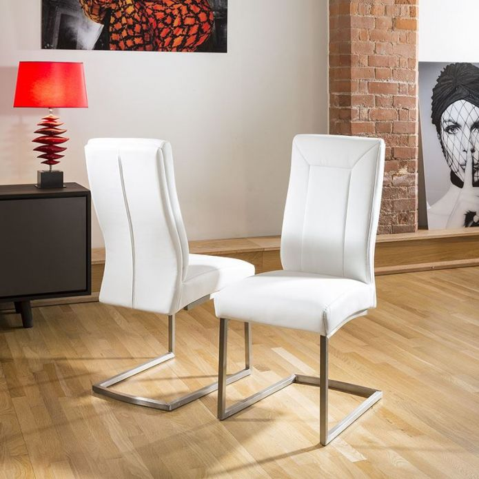 Set of 2 Large Super Comfy Modern Dining Chairs White Faux leather 110