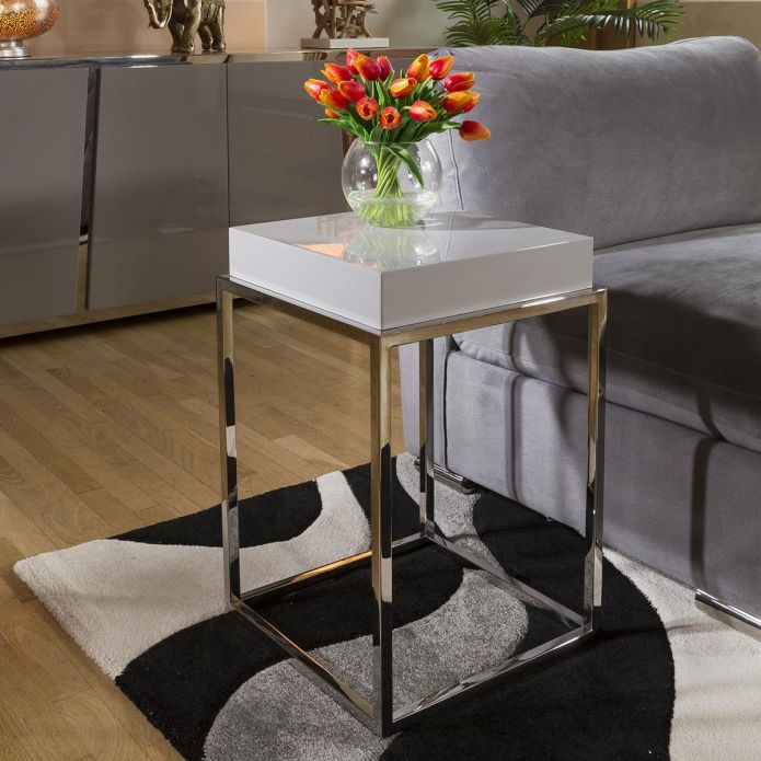 Stainless Steel Framed 410mm Wide End Table Grey Gloss Wood Top