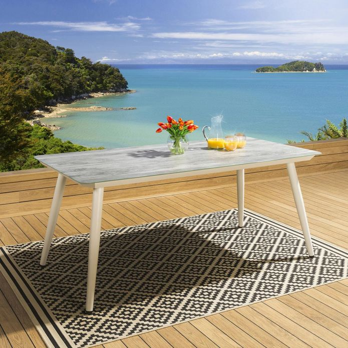 Quatropi Wood effect Glass Top White Outdoor Dining Table 180x90