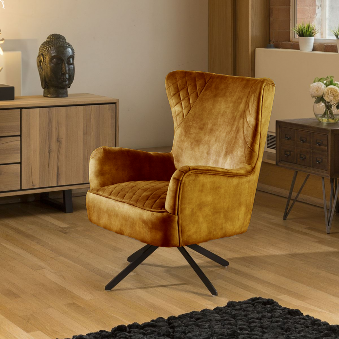 Comfy Armchair Swivel Winged Chair Feature Vintage Velvet Mustard New