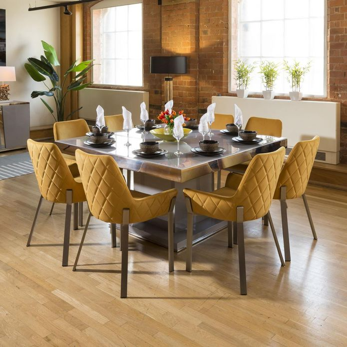 Grey & Chrome Dining Set Glass Top 8 Mustard & Stainless Chairs