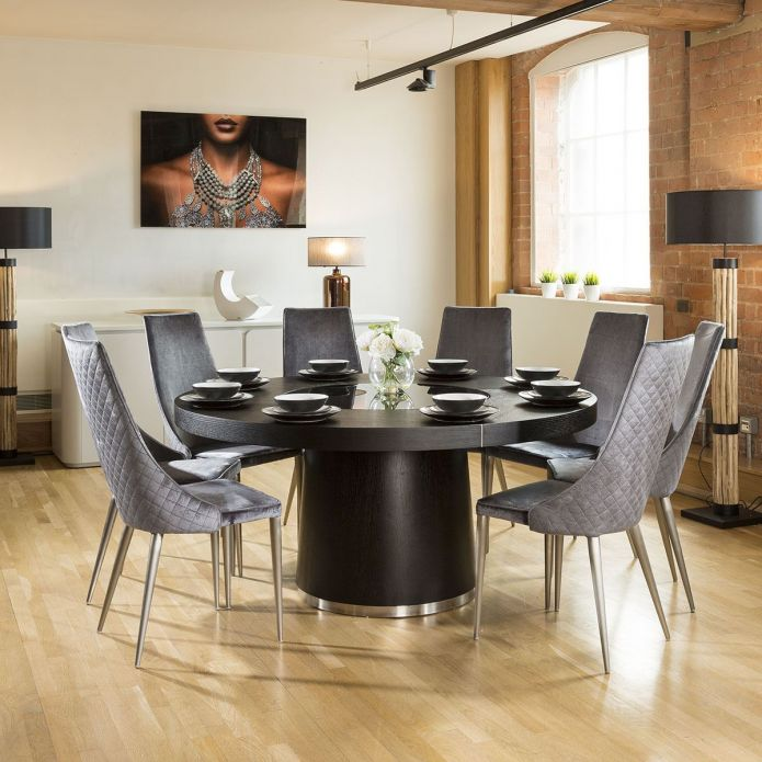 Quatropi Large 1.6 Round Black Oak Dining Set 8 High Grey Dining Chairs