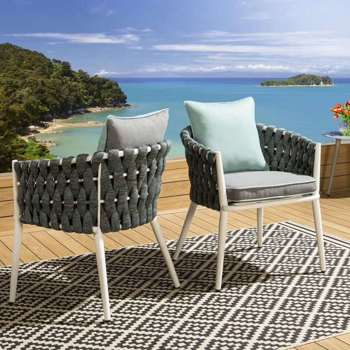 Glass Top White Outdoor Dining Table + 6 Grey Thick Rope Chairs Santa Monica