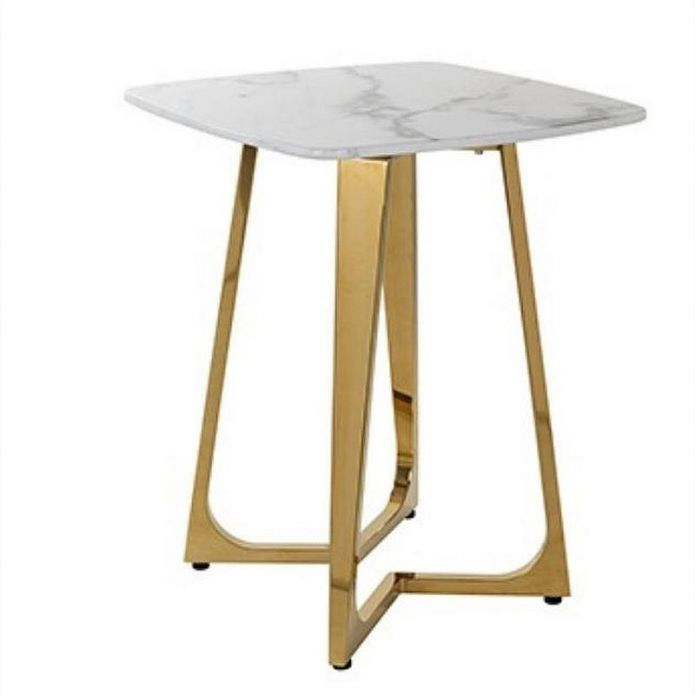 Quatropi White Faux Marble Square End Side Table Gold Steel Living room
