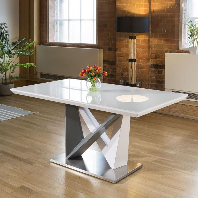 Large Rectangular Modern Dining Dining Table White Glass 160x90cm top